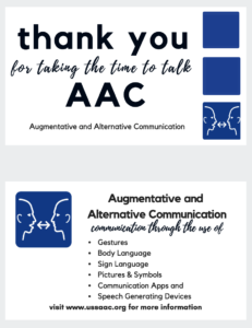 "AAC business card reading ""thank you for taking the time to talk AAC"""