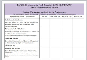 This Environmental AAC Checklist is used to help teams assess the availability of core vocabulary in the communication environment.