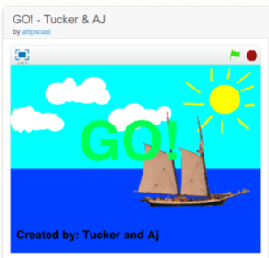 "Screen shot of the game ""go"" in which there are clouds and sun in the sky and a sailboat on the water."