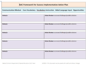 AAC Framework for Success Implementation Action Plan