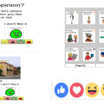 Images depicting symbols for giving opinions, including emoji symbols from Facebook.