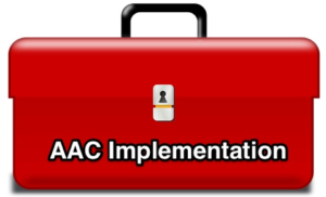 "clipart image of a closed red toolbox with the words ""AAC implementation"" on the front"